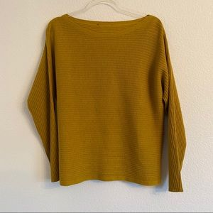Eileen Fisher mustard yellow ribbed sweater Small